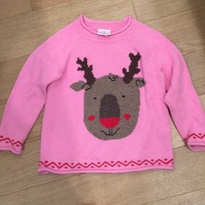 Hanna Andersson girl sweater with reindeer. 110